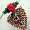 Beaded Pendant - Red Black 3D Triangle