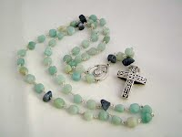 Rosary in Sterling Silver, Amazonite, Coral ch0183