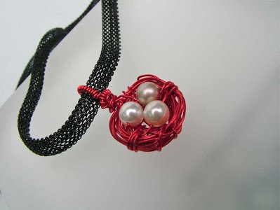 Red Birds Nest Eggs Pendant