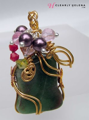 Wire Wrap Jade like Pendant