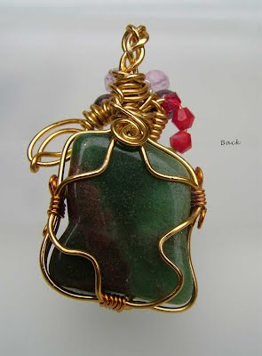 Wire Wrap Jade like Pendant back