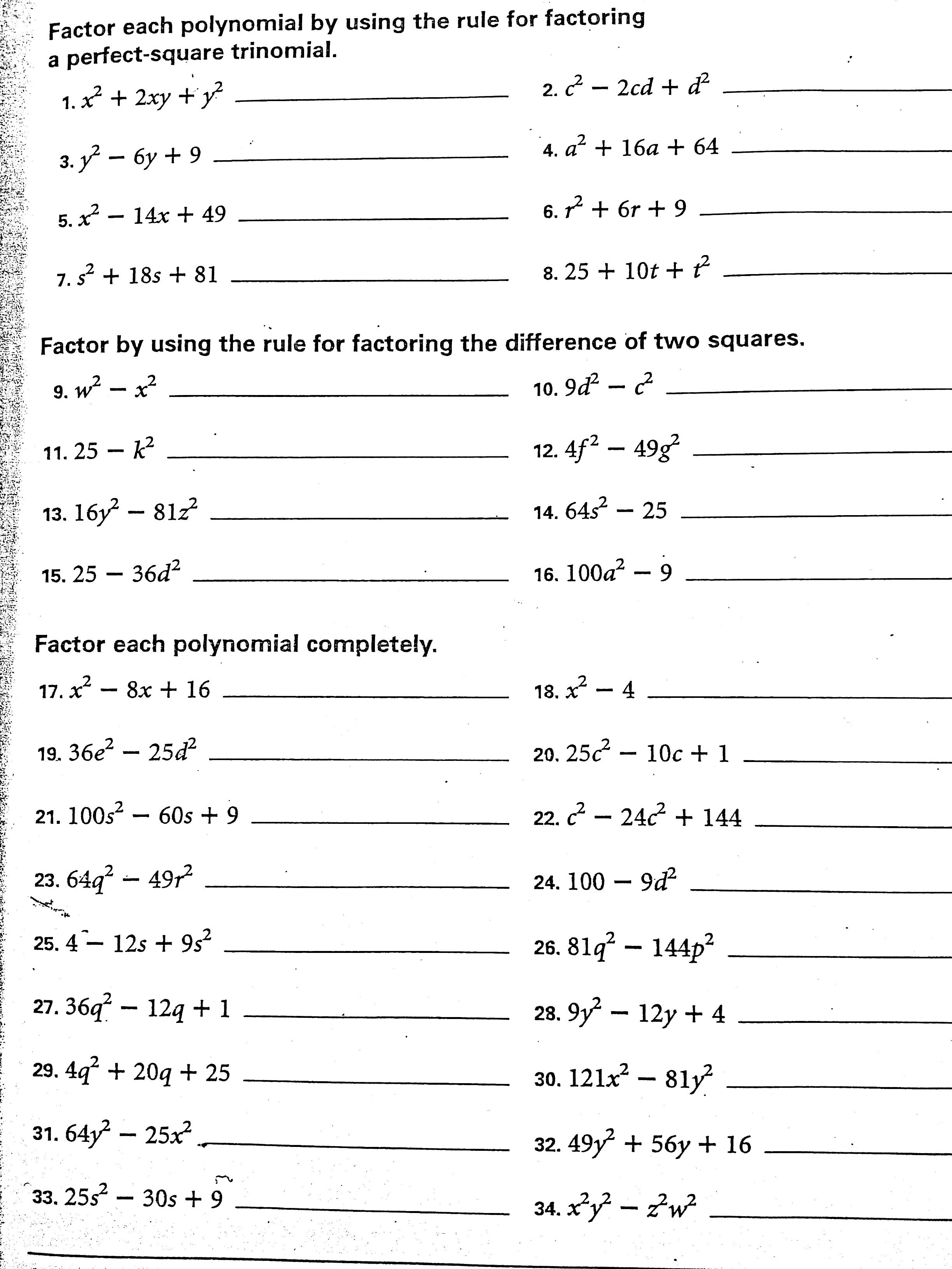 Worksheets Factoring Difference Of Squares Worksheet algebra 1 assignments swenson math attachments difference of squares perfect jpg factoring