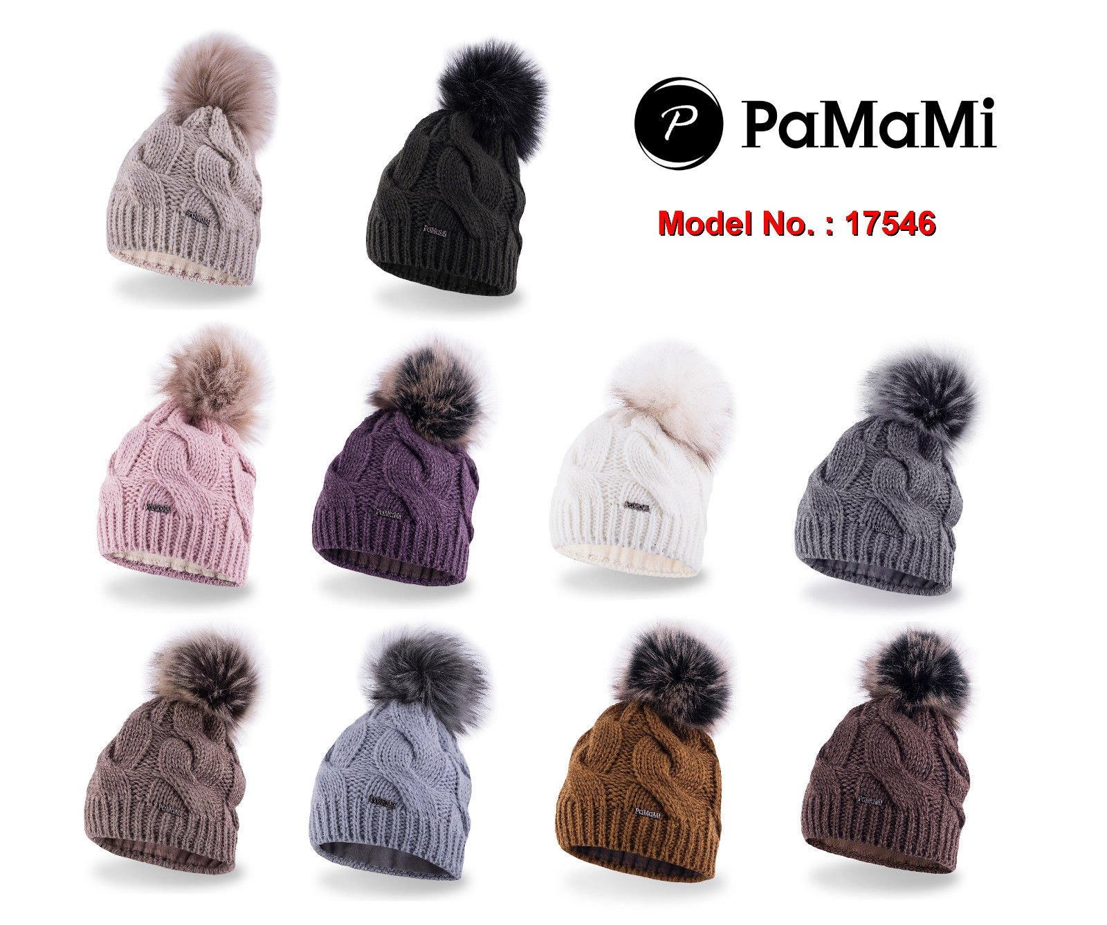 Details about PaMaMi Ladies Women s Beanie Hats Cap with pom pom Ski Fleece  lined 17546 a4ee4301d28