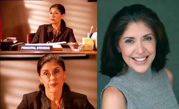 Anne Betancourt as Principal Stevens, and a headshot.