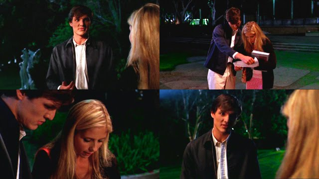 Pedro Pascal as Eddie bumps into Buffy on campus.