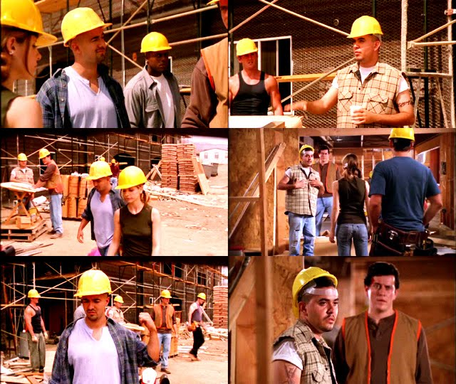 Gugliemi and Almeida do various things around the construction site