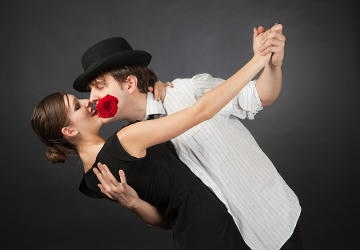 tango dance couple with rose
