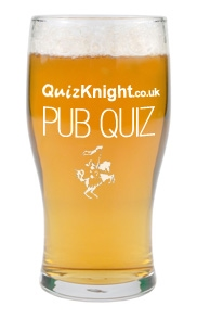 QuizKnight branded beer bottle - quiz q and a page