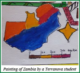 Painting of Zambia Map