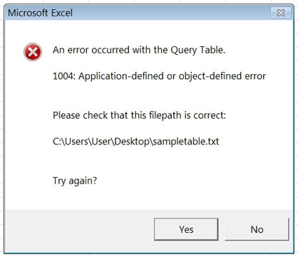 sql detailed querytables error handling stack overflow