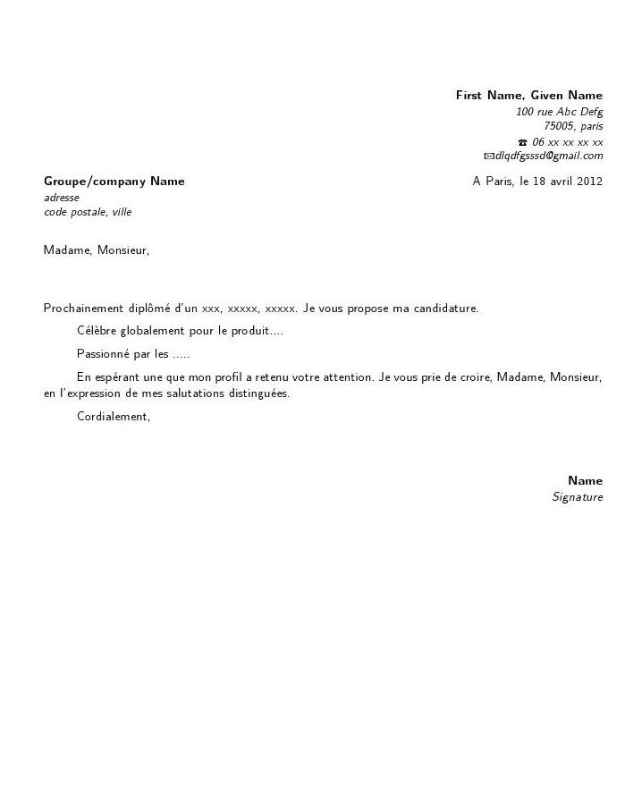 exemple lettre de motivation latex