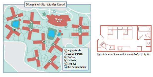 All Star Movies - The Best of Walt Disney World Disney World All Star Movie Resort Map on