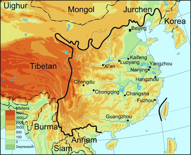 A Map Of China A map of Ming dynasty China, showing the surrounding kingdoms and