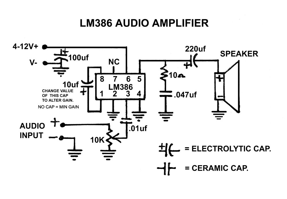 lm386 audio amplifier circuit the diy project hublm386 audio amplifier circuit
