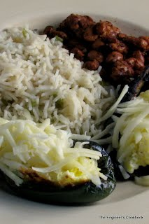 Poblano Eggs with Rice and Beans