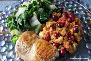 pork chops, chard and cranberry stuffing with water chestnuts