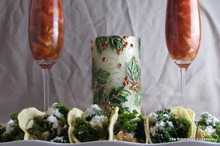 lime-kale pork tacos with cotija and honeyed grapefruit.  This is the Christmas version of the picture.