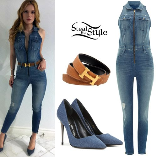 c5874dceddf Bella Thorne posted a picture a few days ago wearing a Guess Cara Denim  Jumpsuit (Sold Out)