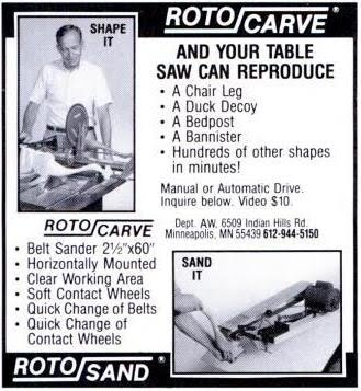 Roto/Carve ad from 1991