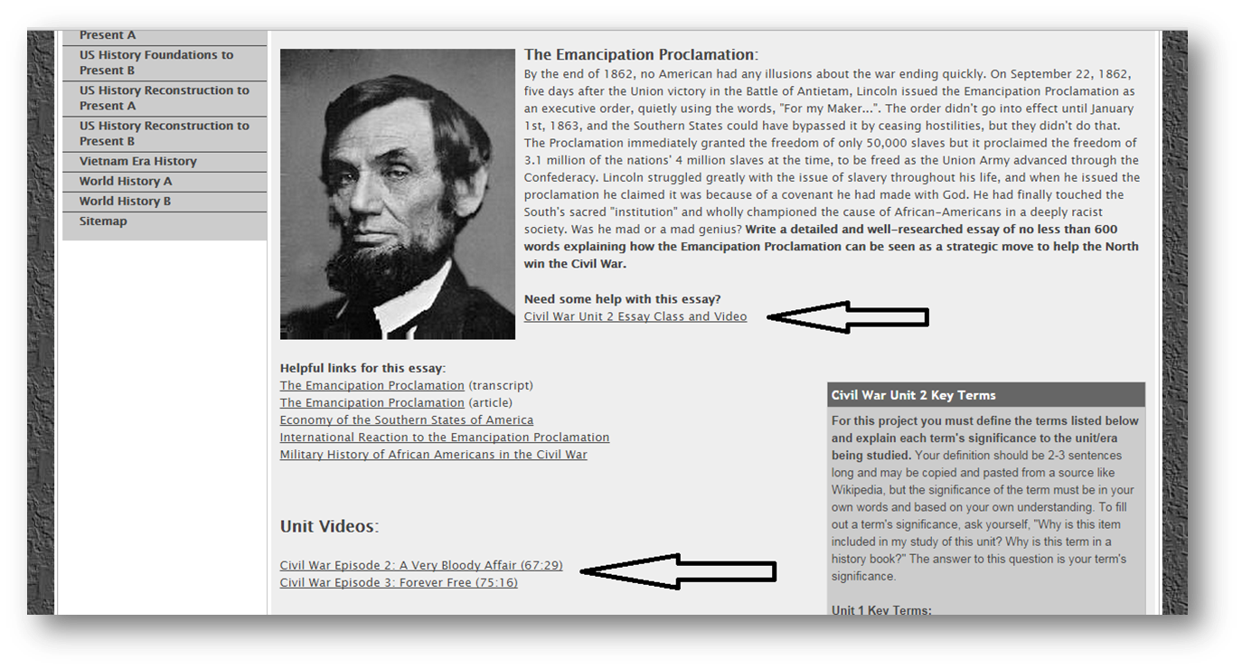 virtual classroom tips the virtual classroom workshop the picture above is represents the unit 2 page for my civil war history course on my site all my videos are linked subpages when i first put together my
