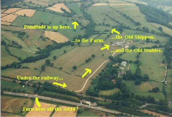 Thorpe Farm Bunkhouses - aerial photo with directions