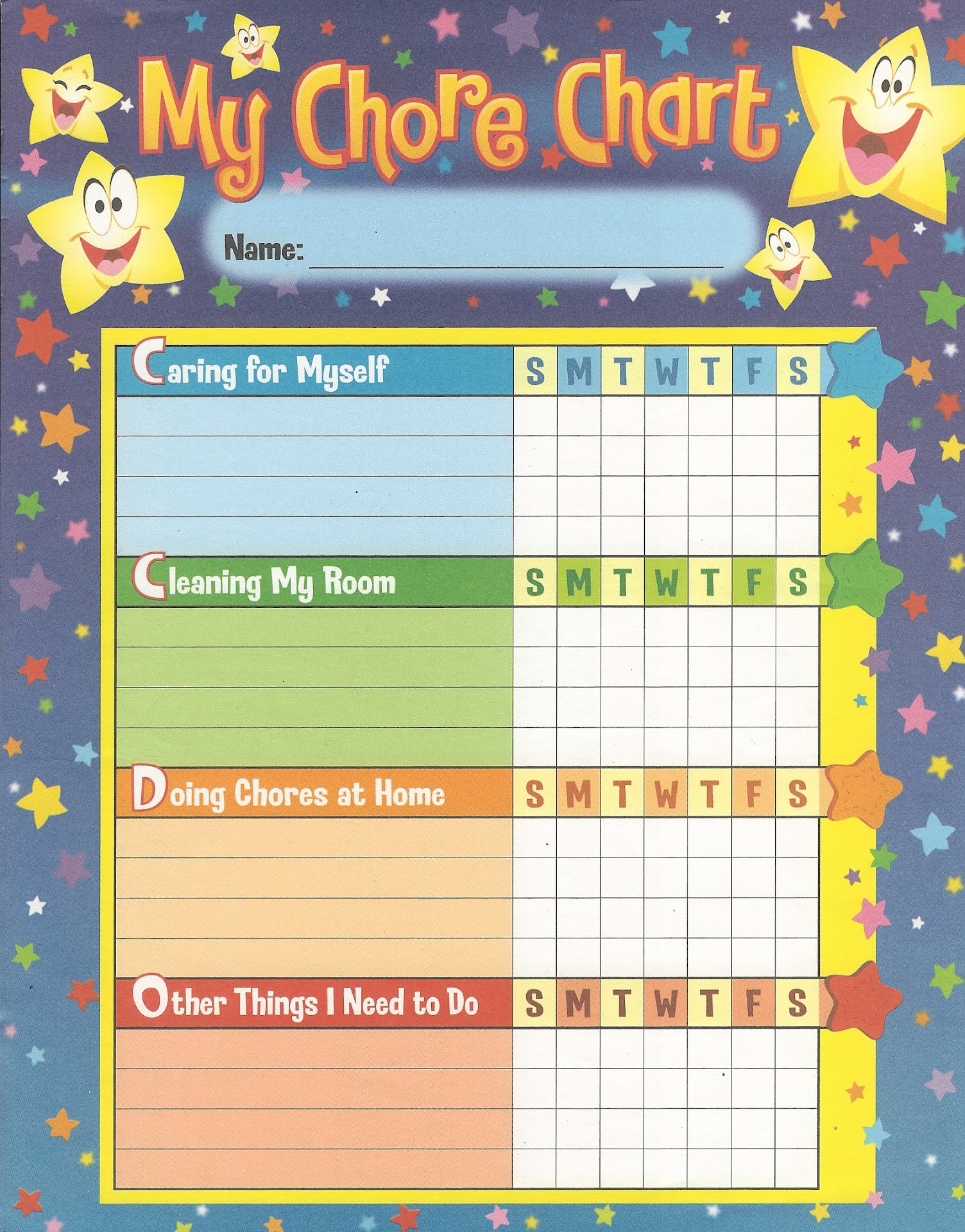 My family chore chart tiger cubs 766