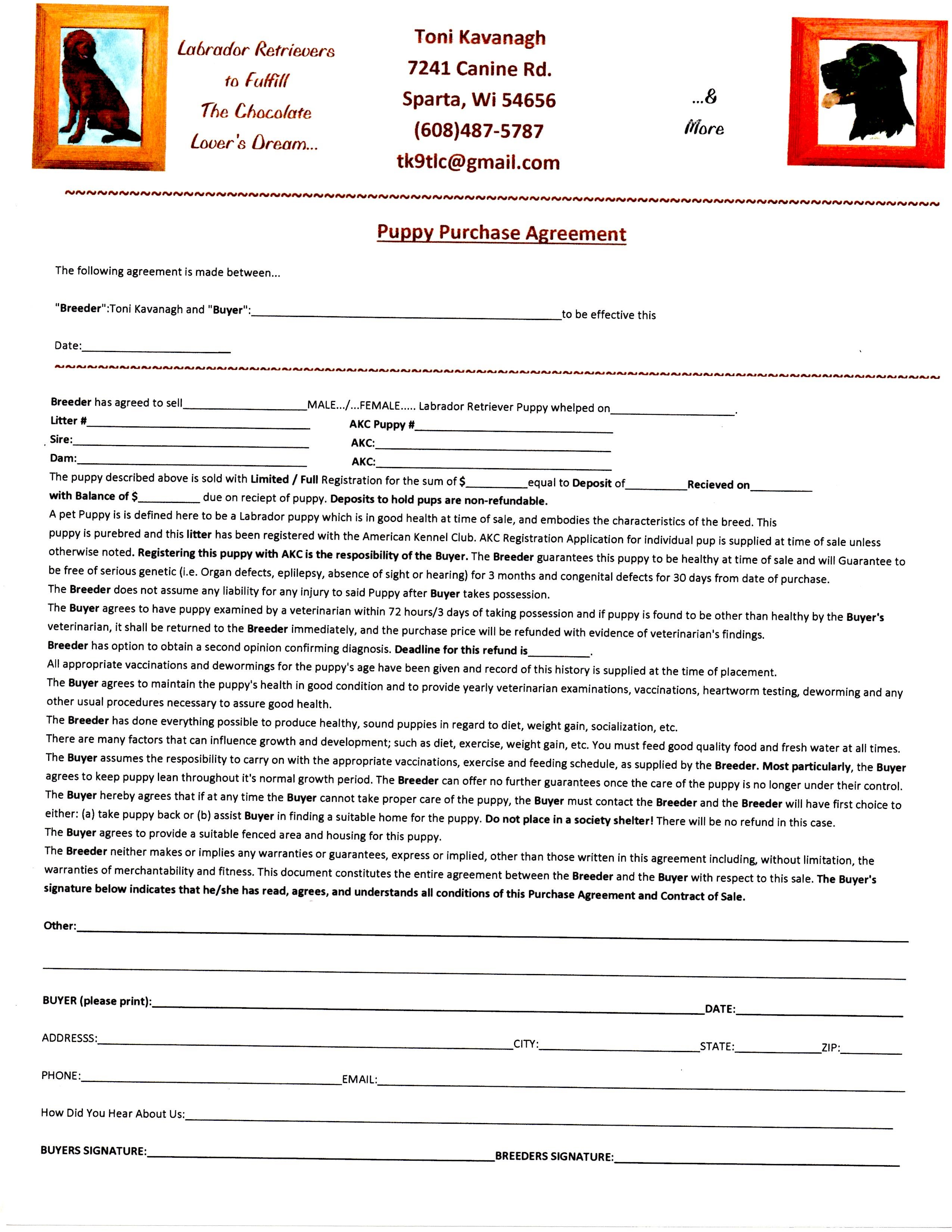 puppy placement agreement