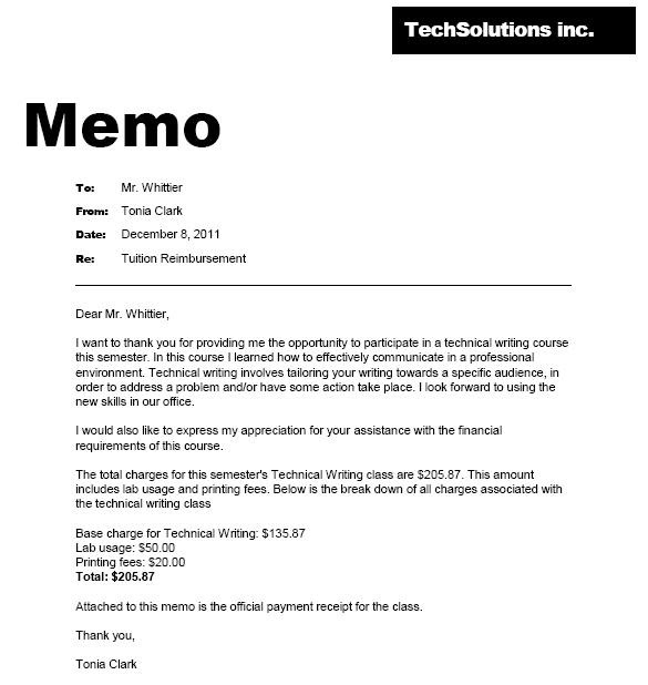tuition reimbursement memo