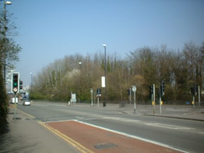 The above ground view. The Cistern lays beneath the trees beyond the road.