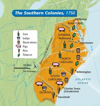southern colonies tour of the english colonies