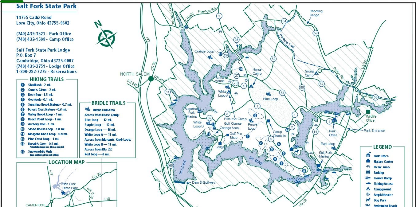 salt fork lake map Trail Map At Salt Fork State Park In Ohio Tracking Bigfoot salt fork lake map