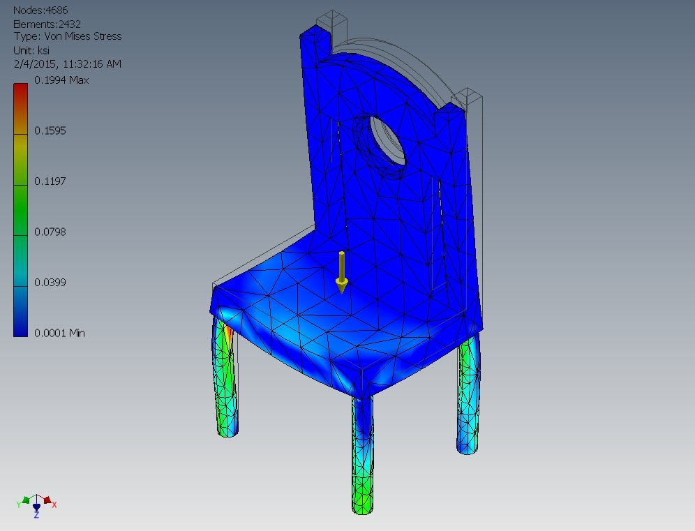The Purpose Of This Project Was To Use The Stress Analysis On Autodesk  Designed Figures, In This Case A Chair. Here I Place 250 Lb Of Force  Straight Down ...