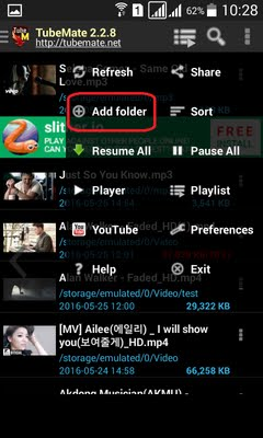 Instruction to create download folder on Tubemate - Tubemate
