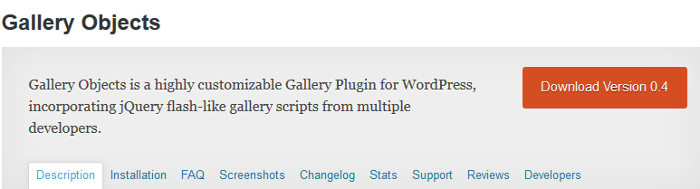 Wordpress Gallery Objects