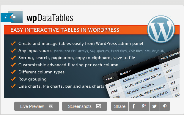 wordpress wpdatatables