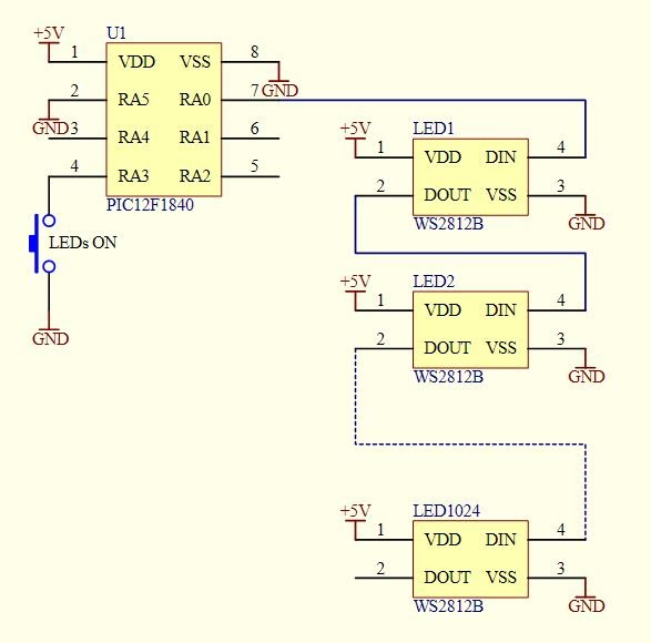 Simple Ws2812b Led Interface  Controller In One Chip