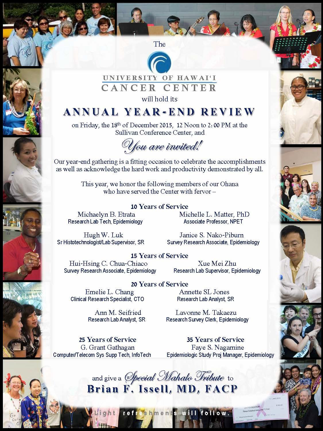 2015 annual year end review invitation uh cancer center hr