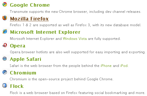 List of supported browsers