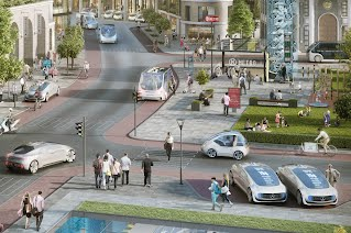 An artist's depiction of a future populated by automated vehicles. Image: Robert Bosch GmbH
