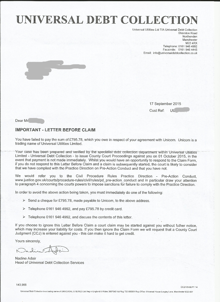 Letter Before Action >> Important Letter Before Claim Unicom Dispute My Story