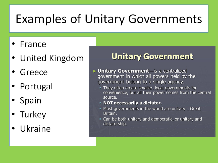 examples unitary government system