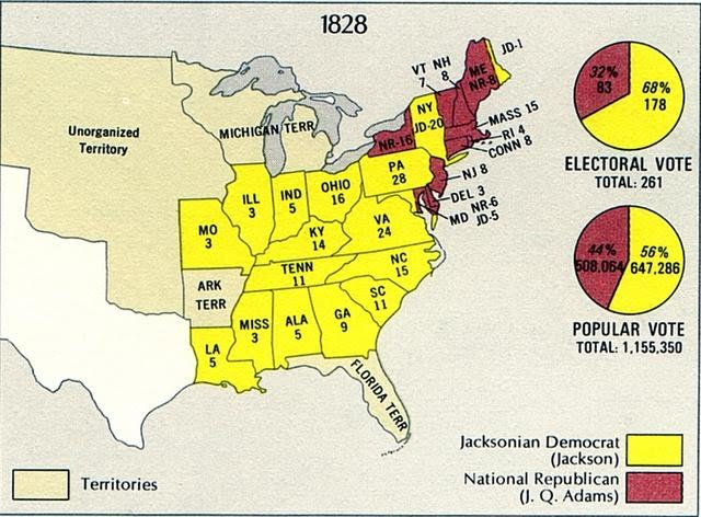 Impact On The Election Universal Male Suffrage - Us map 1824