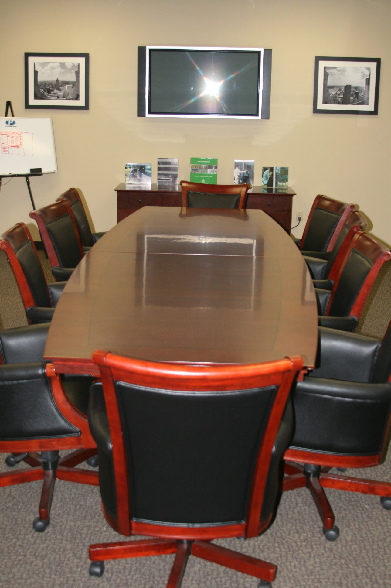 Executive Conference Table U0026 10 Matching Leather U0026 Wood Chairs
