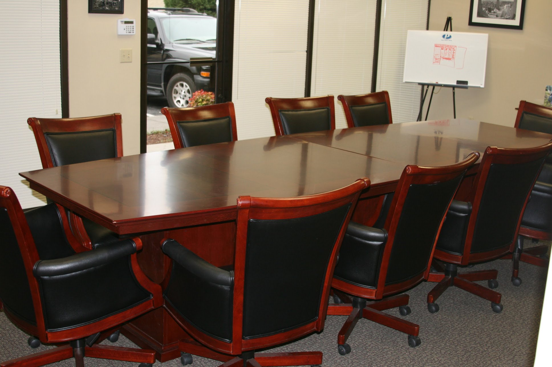 Beautiful ... Mar Consists Of A 12 Foot Inlay Conference Table And 10 Del Mar  Executive High Back Chairs In Black Leather And Wood. Chairs Have Pneumatic  Adjustment, ...