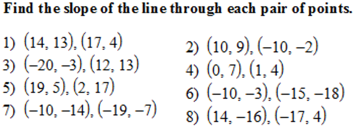 How To Find Slope Of Line Through Pair Of Points Solution For