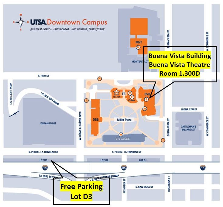 Free UTSA Downtown Campus Parking Map   UTSA campus map with