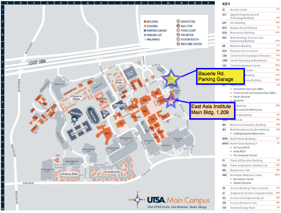 Bauerle Garage   UTSA campus map with driving directions