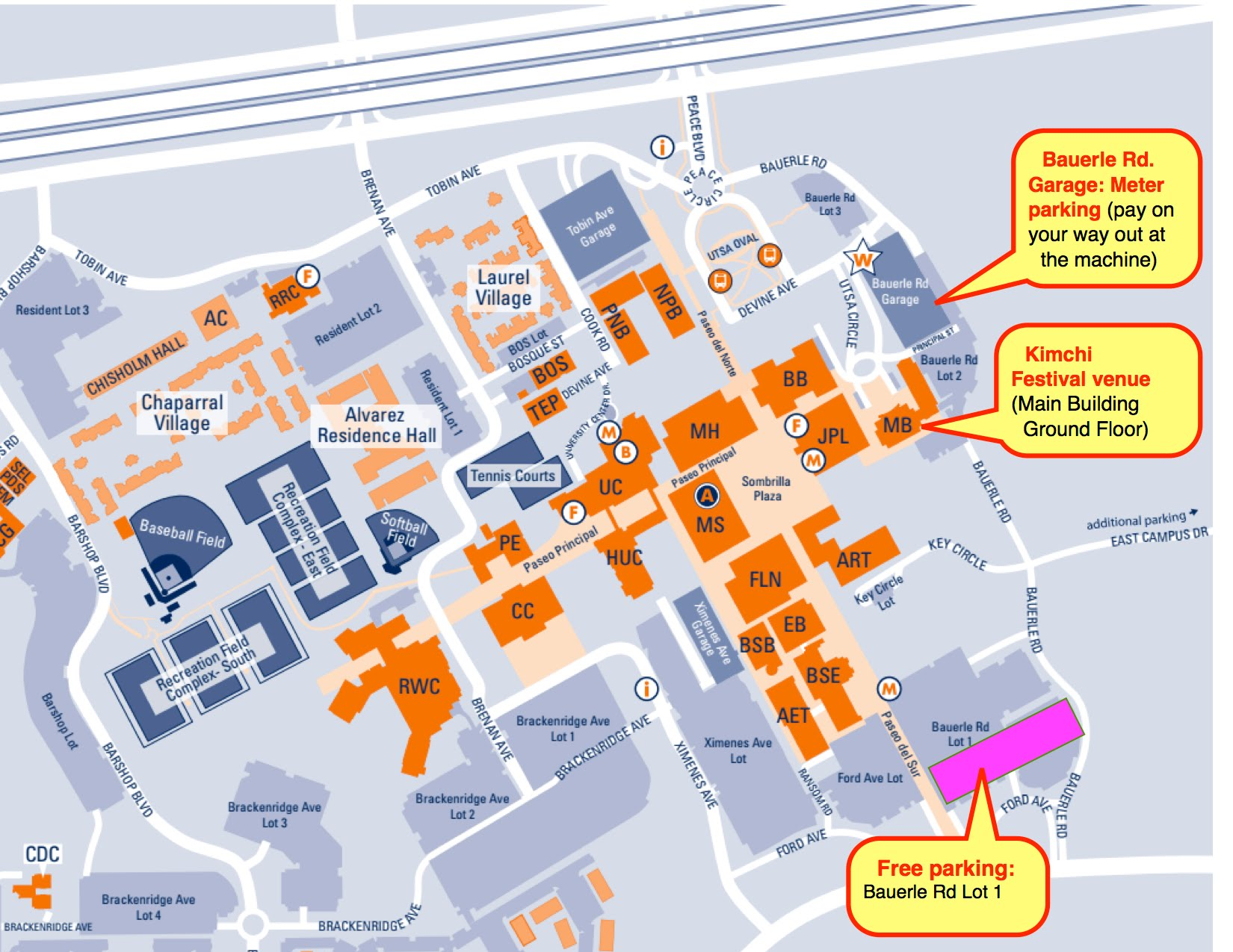 Utsa Campus Map Parking for Kimchi Festival   UTSA campus map with driving directions Utsa Campus Map