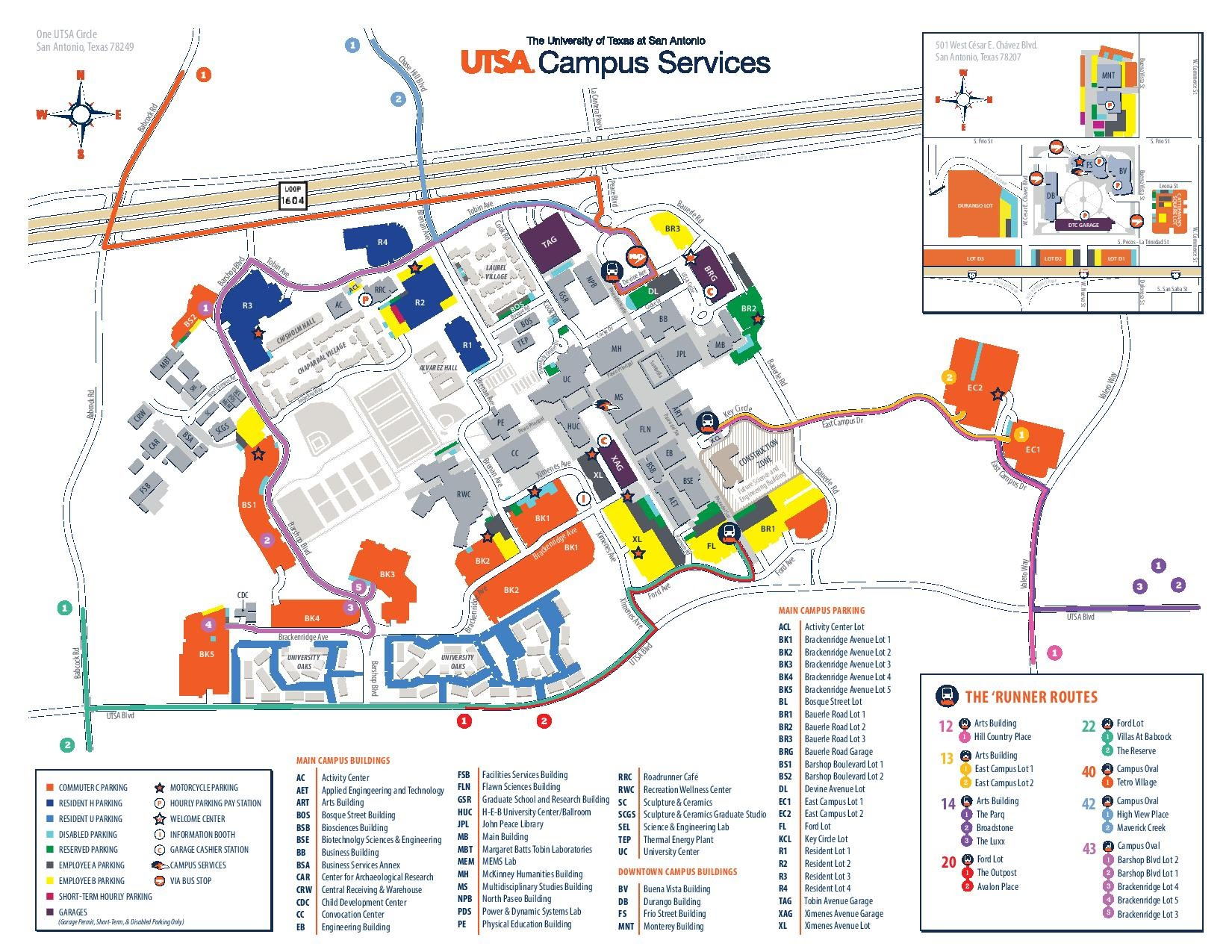 General Parking Map   UTSA campus map with driving directions