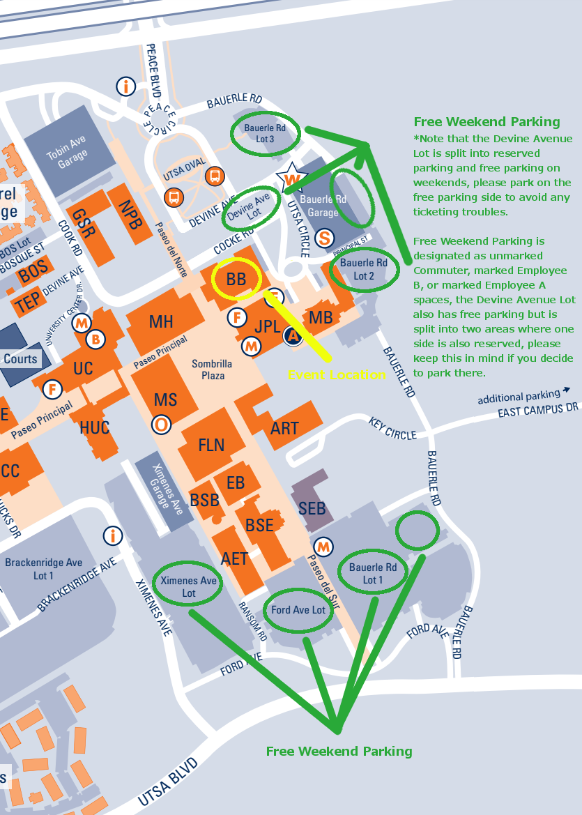 Free Weekend Parking For Business Building Event Utsa Campus Map